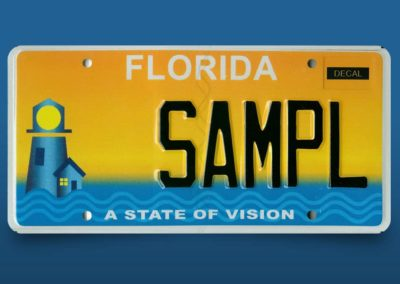Support Lighthouse With a Specialty License Plate